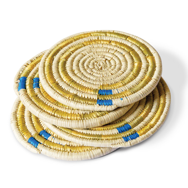 """""""Circle of Strength"""" upcycled papyrus grass coasters by Breegan Jane"""