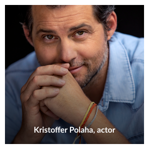 """Headshot of Kristoffer Polaha wearing his """"Further Together"""" waxed string adjustable bracelets by Kristoffer Polaha"""