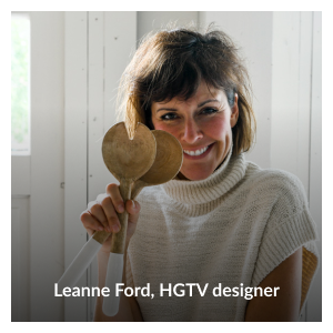 """Headshot of Leanne Ford holding her """"Around the Table"""" color-block mango wood salad servers by Leanne Ford"""