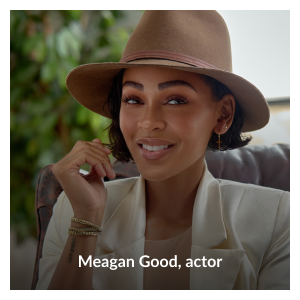 """Headshot of Meagan Good wearing """"The Tie that Binds"""" gold tone and taupe cotton wrap bracelet by Meagan Good"""