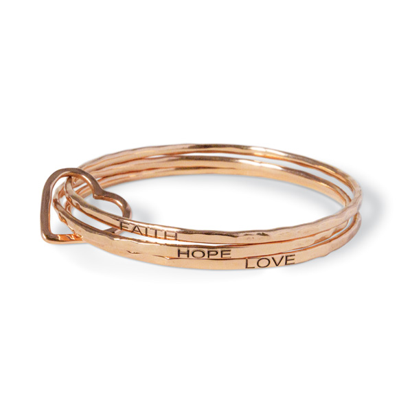 """""""These Three Remain"""" rose-gold toned bracelet by Melissa Joan Hart"""