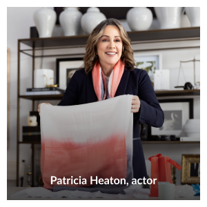 """Headshot of Patricia Heaton wearing her """"Wrapped in Hope"""" dip-dyed 100% silk scarf by Patricia Heaton"""