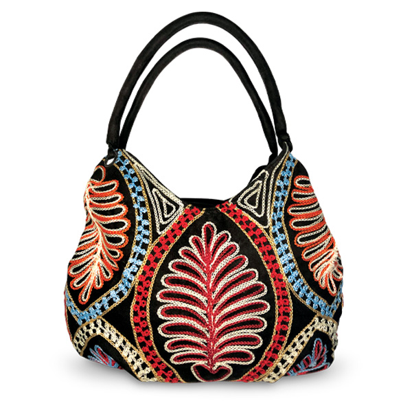 """""""Bonded Together"""" faux suede and cotton embroidered tote by Wé McDonald"""