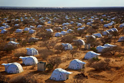 In the Dadabb refugee camp in Kenya are tents provided by ShelterBox. World Vision coordinated the distribution and assembly of the temporary shelters.