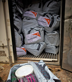 Non-food item kits are distributed to families who arrive at refugee camps, often with nothing but the clothes on their backs. Kits contain things like blankets, a bucket, a cooking pot, and a mosquito net.