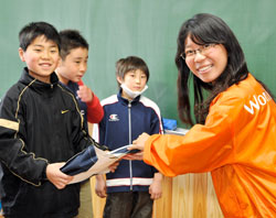 After the March earthquake and tsunami, World Vision visited affected schools and distributed supplies to students.